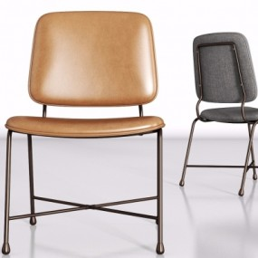 现代金属皮革单椅组合3D模型【ID:227783458】