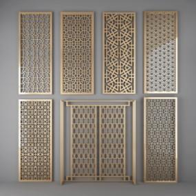中式镀金雕花屏风镂空隔断组合3D模型【ID:827814441】