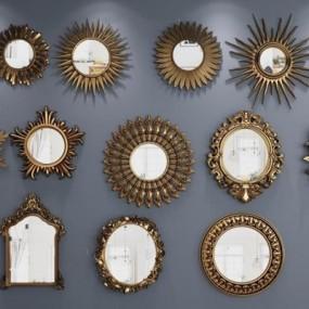欧式太阳镜装饰镜子组合3D模型【ID:127850976】