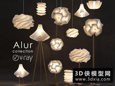 現代燈具組合國外3D模型【ID:929393040】