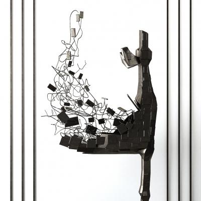 现代抽象铁艺雕塑摆设3D模型【ID:328438844】