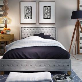 北欧单人床床头柜吊灯挂画3D模型【ID:628053909】