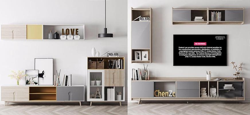 北欧电视柜壁柜组合3D模型【ID:928347037】