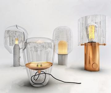現代玻璃臺燈組合3D模型【ID:620802157】