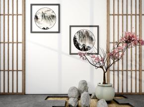 中式盆景屏風裝飾畫組合3D模型【ID:827814448】