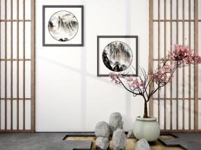 中式盆景屏风装饰画组合3D模型【ID:827814448】