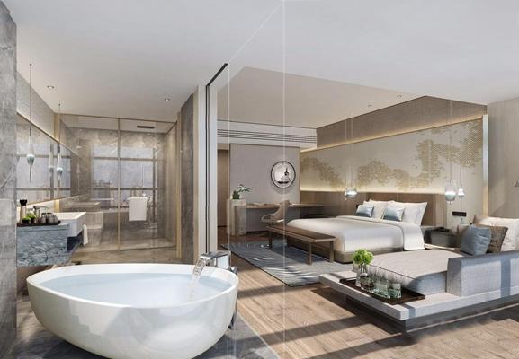 现代酒店客房3D模型【ID:428257639】