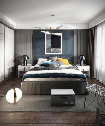 现代卧室3D模型【ID:419316393】