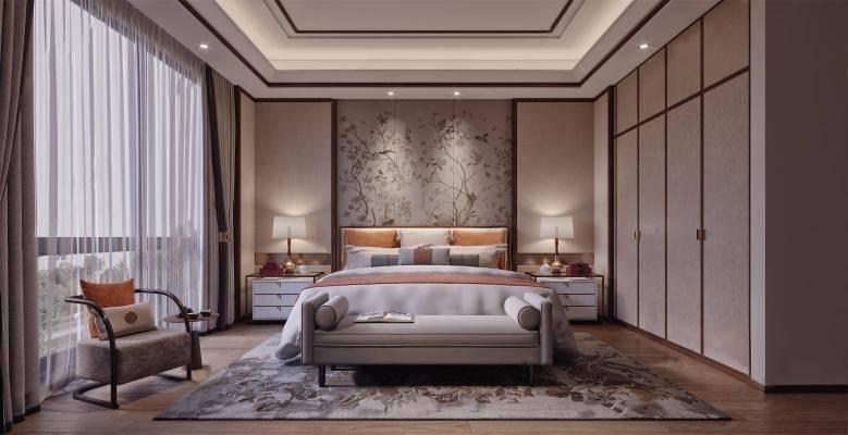新中式卧室3D模型【ID:419730316】
