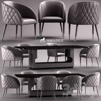 现代椅子茶几组合3D模型【ID:319845388】