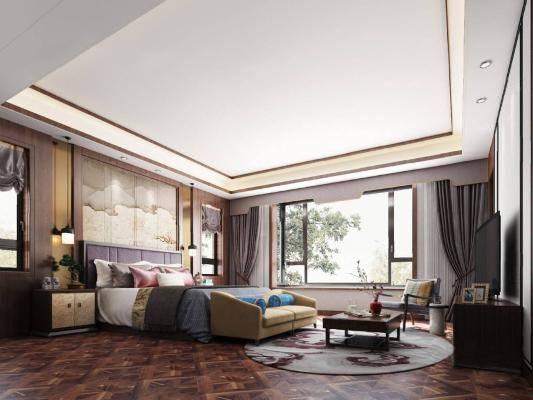 新中式卧室3D模型【ID:419878398】
