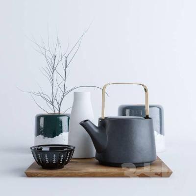 日式茶壶茶杯组合摆件3D模型【ID:119904054】