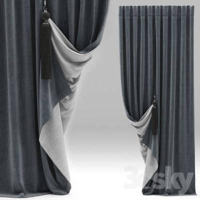 现代简约窗帘3D模型【ID:320063897】