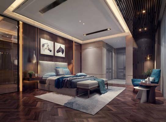 现代卧室3D模型【ID:420453331】