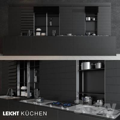现代厨房橱柜3D模型【ID:720516379】