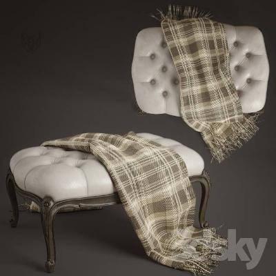 经典欧式沙发凳3D模型【ID:420546234】
