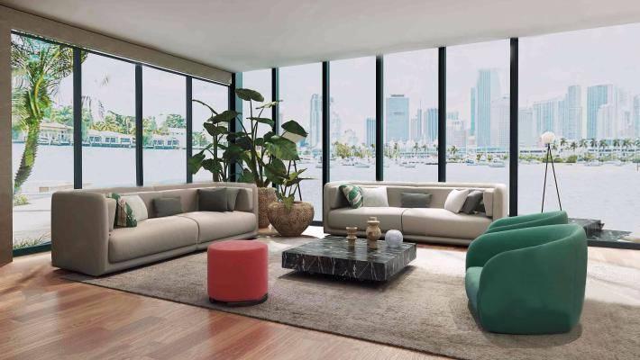 现代沙发组合3D模型【ID:320632379】