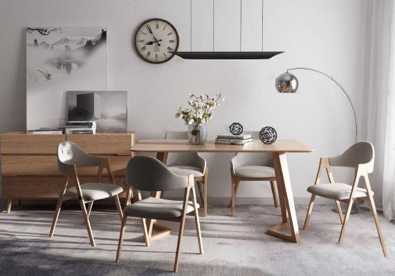 北欧餐桌椅组合3D模型下载【ID:321523485】