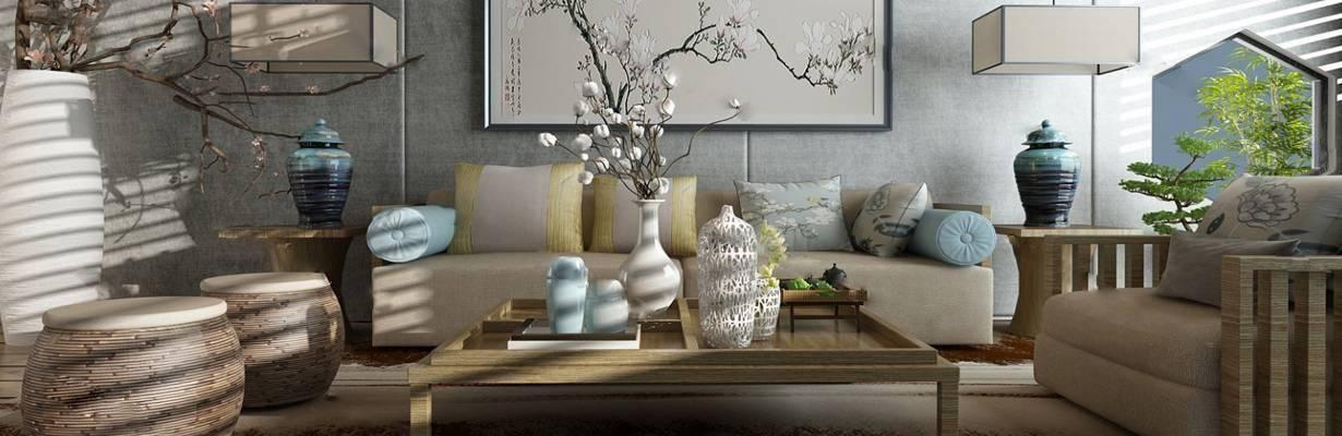沙发茶几组合3D模型下载【ID:322302345】