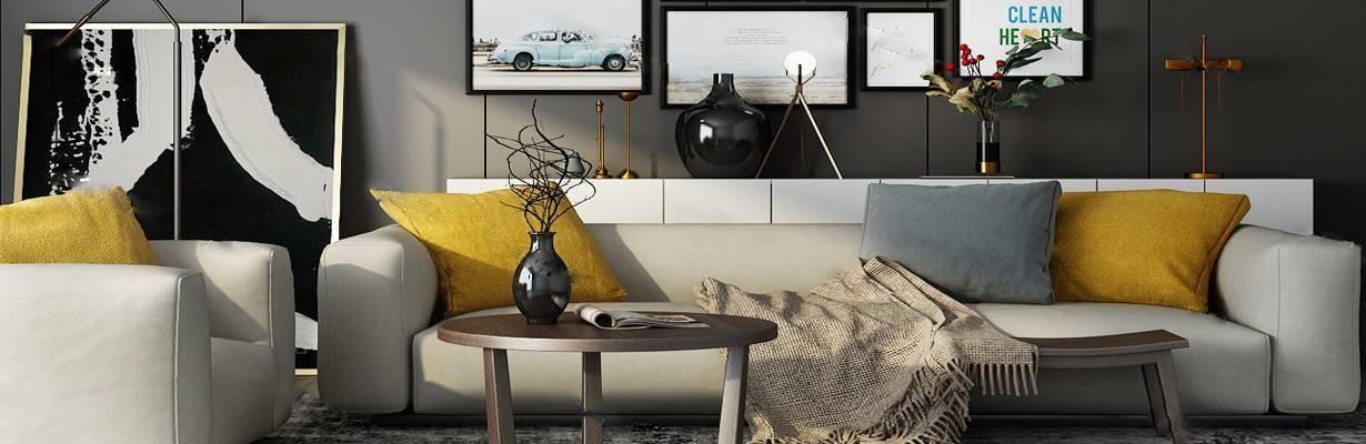 沙发茶几组合3D模型下载【ID:323425370】