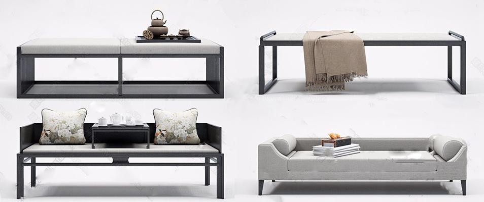 新中式脚踏组合 新中式脚踏 床尾凳 床榻 茶具组合