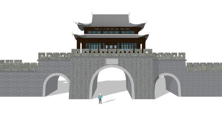 古建城门SU模型