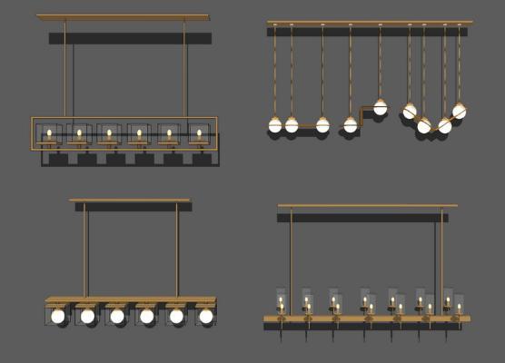 新中式吊灯组合SU模型