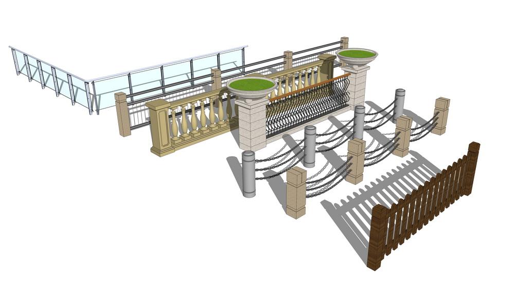 栏杆组合SU模型
