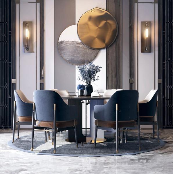 新中式�A形餐桌椅3d模型