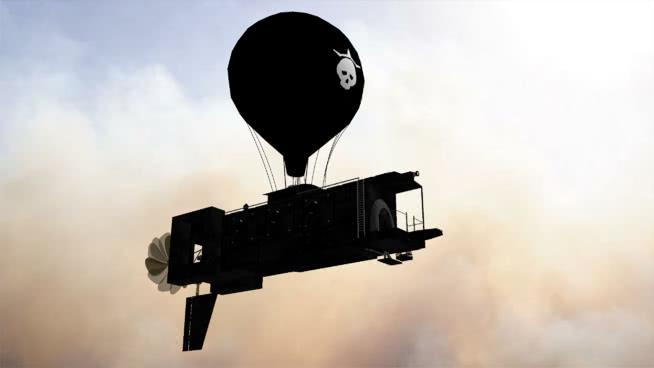 皇帝僵尸装甲飞艇 热气球 聚光灯 飞机