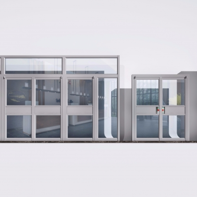 现代肯德基专用铝合金门组合3D模型