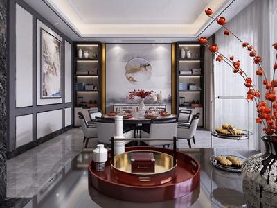 新中式餐厅 新中式餐厅 餐桌 餐椅 装饰柜 边柜 圆餐桌 花瓶 摆件