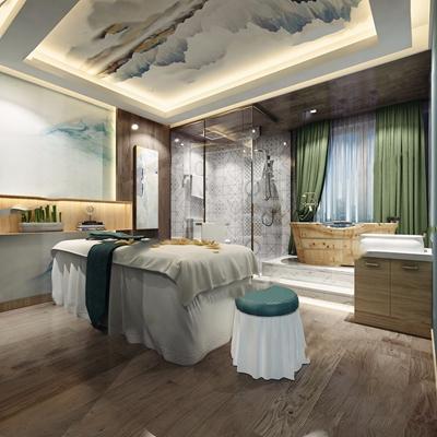 SPA包间 现代spa 包间 按摩床 浴缸 洗手台 淋浴间