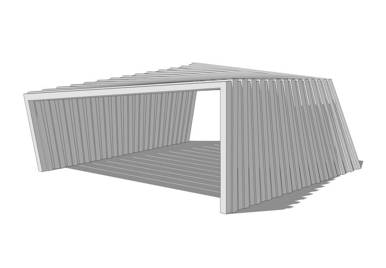 现代廊架SU模型