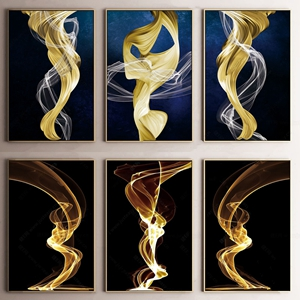 现代金属晶瓷画组合 现代挂画相框 金属晶瓷画