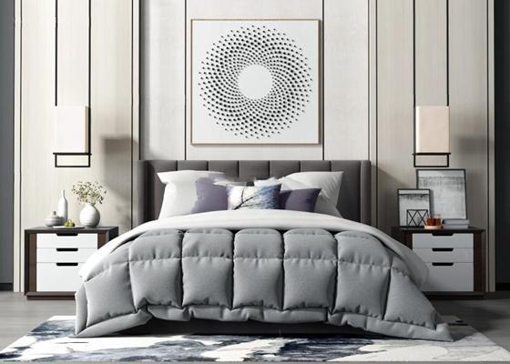 新中式床具组合 新中式床具 双人床 墙饰 挂件 吊灯 地毯 床头柜