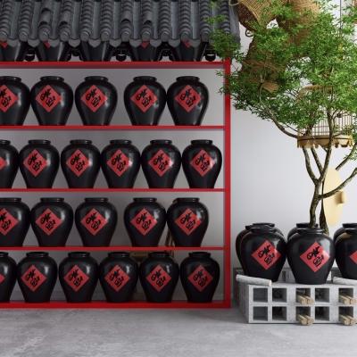 中式酒馆酒坛饰品摆件组合3D模型
