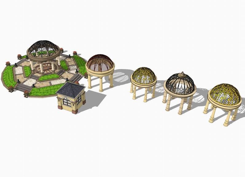 欧式镂空穹顶凉亭SU模型