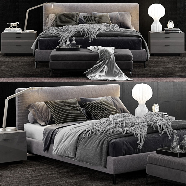 现代布艺双人床3d模型