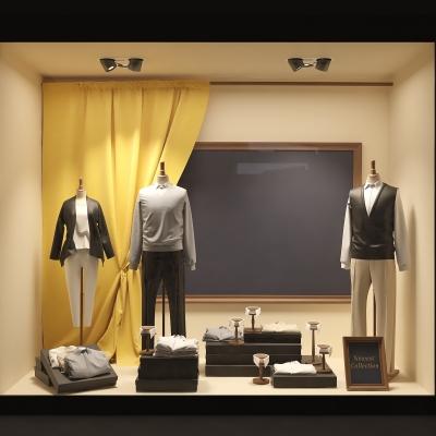 现代男士服装橱窗3D模型