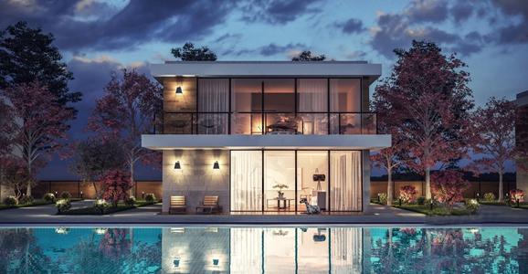 现代别墅游泳池外观 现代建筑 别墅外观 泳池
