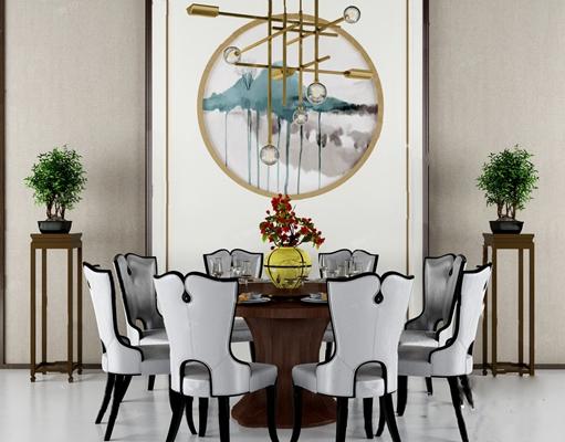 中式餐桌椅組合3D模型