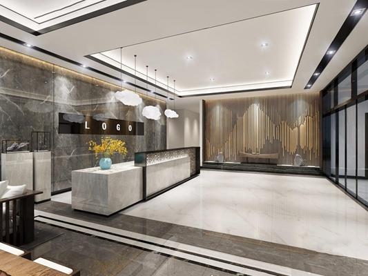 新中式大厅 新中式前台接待 大厅 大堂 接待台 吊灯 雕塑 茶台 凳子 背景墙