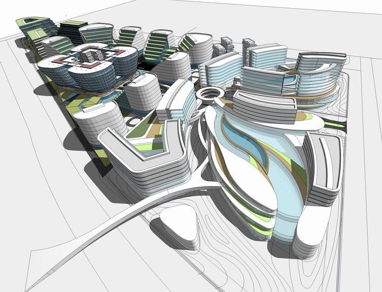 现代风格虹桥会展中心SU模型