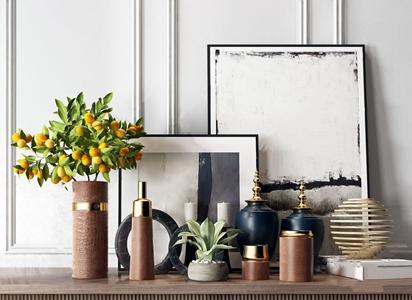 现代轻奢装饰品摆件组合 现代饰品摆件 花瓶 装饰画 绿植 摆件
