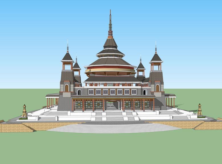 中国古代皇家建筑名堂-辟雍SU模型