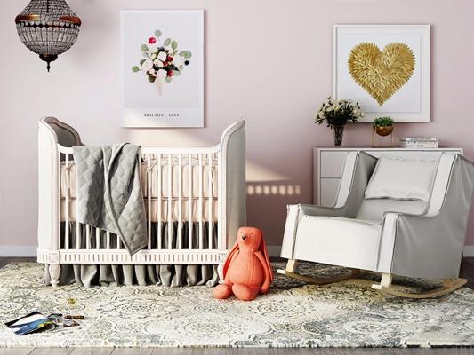 Restoration Hardware(RH)美式婴儿床组合 美式单人床 婴儿床 单人沙发 挂画 吊灯 边柜 玩具 Restoration-Hardware RH