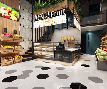 工业风水果超市 工业风商业零售 收银台 桌椅 水果 超市 柜台 冰柜 货架 卡座 椅子