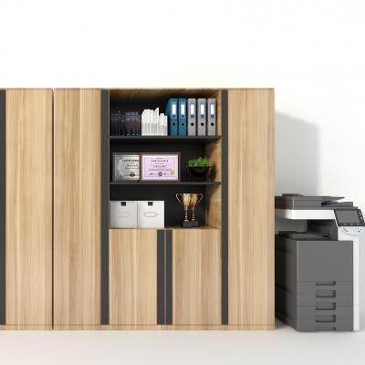 现代文件柜文件摆件打印机组合3D模型