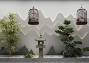 新中式石灯植物鸟笼组合3D模型